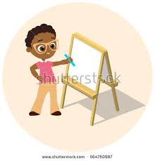 Isometric Easel Young African American Boy Stock Vector 563516587