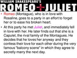 romeo juliet play summary lesson for ks3 by johncallaghan