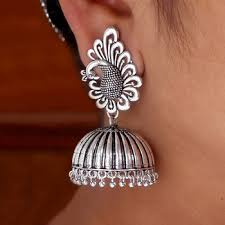 jhumka earrings online shopping buy beautiful oxidised silver tone peacock stud jhumka earrings online