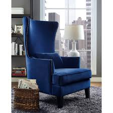 Navy Blue Leather Club Chair Chair Clarice Tall Wingback Silver Tufted Fabric Accent Chair