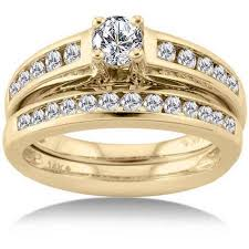 gold bridal set 1 carat prong set diamond 14kt yellow gold bridal set walmart