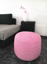 Pink Pouf Ottoman Light Pink Crochet Pouf Ottoman Nursery Foot Stool Pouf