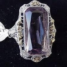 14ct white u0026 yellow gold amethyst deco filigree ring item 796500