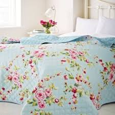 large country cottage shabby floral blue pink 240 x 260 chic