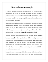 Sample Resume For Hotel by Hotel Steward Cv Resume Sample Free Download Vinodomia