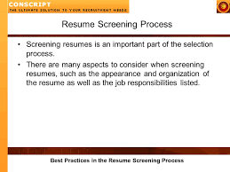 Best Practices Resume by Best Practices In The Resume Screening Process Resume Screening