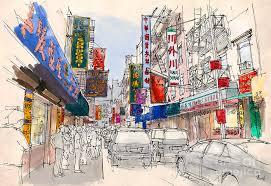 Handmade In New York - chinatown manhattan sketch colorful handmade drawing of new york
