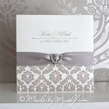 damask wedding invitations damask ribbon heart pocketfold wedding invitation includes rsvp