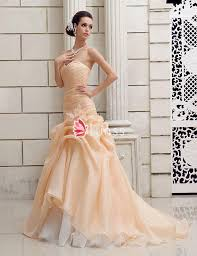 champagne strapless sweetheart drop waist a line wedding dress