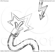 clipart of a black and white sketched broken electrical power