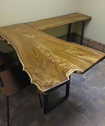 60 Inch L Shaped Desk by Live Edge Slab