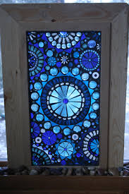 glass mosaic window panel abstract blue circles on self standing