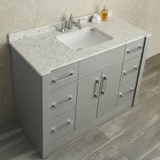 Ariel By Seacliff Radcliff  Taupe Grey SingleSink Bathroom - Bathroom vanities with quartz countertops