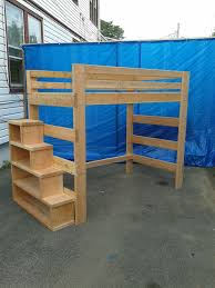 Plans For Bunk Beds With Storage Stairs by Full Size Heavy Duty Loft Bed With Stair Case Shelf Stair Case