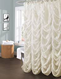 White Ruffled Curtains by Amazon Com Lush Decor Madelynn Shower Curtain Ivory Home U0026 Kitchen
