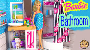 barbie doll deluxe bathroom with shower playset brushes teeth