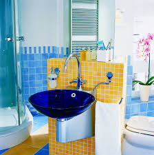 bathroom painting designs wood adds visual warmth the modern curved glass shower room with stainless steel towel rail plus blue and yellow kids bathroom tile painting idea