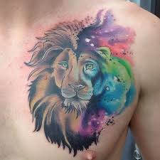 41 best colorful lion tattoos chest images on pinterest animal
