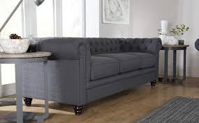Hampton Slate Grey Fabric Chesterfield Sofas EBay - Fabric chesterfield sofas