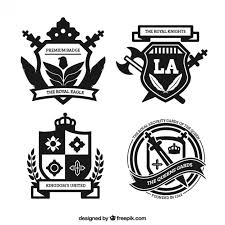 royal badges in ornamental style vector free