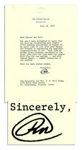 lot detail richard nixon letter signed as president just 10 days
