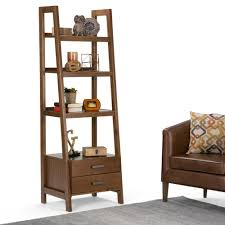 Bookcases With Ladder by Simpli Home Sawhorse Medium Saddle Brown Ladder Bookcase 3axcsaw