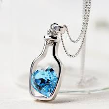 blue crystal necklace images Blue crystal heart in a bottle women 39 s necklace jewelry movement jpg
