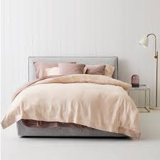 modern designer everything bed linen set peony rose pink flax linen