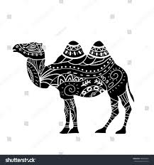 camel silhouette tribal ornaments isolated stock vector 384853642