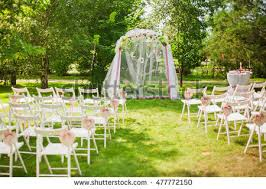 wedding arch no flowers beautiful place outside wedding ceremony city stock photo