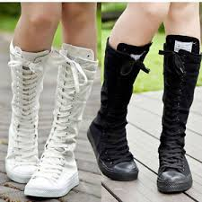 womens knee high boots sale shoes canvas boots zip lace up knee high top coming