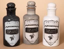 set of 3 witch medicine dolomite bottles jars lycan hair tonic