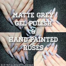matte grey nails gel polish hand painted roses youtube