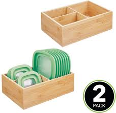large kitchen storage cupboards mdesign bamboo wood kitchen storage bin organizer for food container lids and covers use in cabinets pantries cupboards large divided organizer