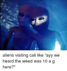 Ayy Lmao Meme - aliens visiting cali like ayy we heard the weed was 10 a g here