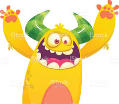 cute yellow fat cartoon monster vector illustration funny troll or