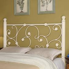 beautiful white wrought iron bed design with gold accent and khaki