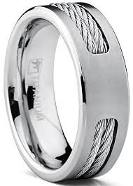 steel titanium rings images 7 mm titanium ring wedding band with stainless steel cable inlay jpg