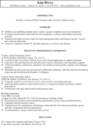 chronological resume sample secretary office assistant good