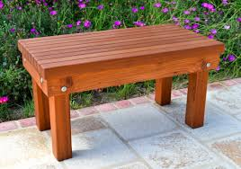Patio Bench Designs by Outdoor Wood Patio Bench Forever Redwood