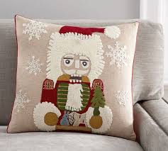 Pottery Barn Christmas Decorations 2015 by Nutcracker Crewel Embroidered Pillow Cover Pottery Barn