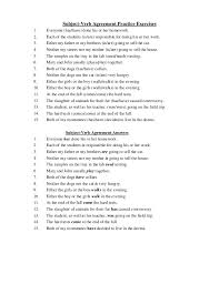 printables subject verb agreement worksheets with answers