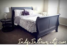 Queen Size Sleigh Bed Frame Distressed Black Queen Size Sleigh Bed By Indigointeriors On Etsy