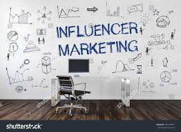 Office Wall Design Influencer Marketing Text Business Icons Hand Stock Illustration