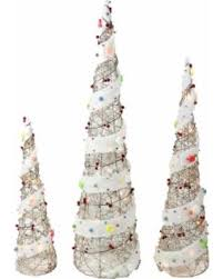 Christmas Outdoor Decoration On Sale by Savings On Pre Lit Cone Christmas Tree Outdoor Decor 3 Piece Set