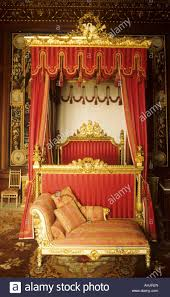 burghley house near stamford interior bedroom gilded 4 poster
