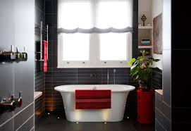 house tour beautiful contemporary black tile bath red accents
