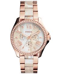 rose tone stainless steel bracelet images Fossil women 39 s chronograph cecile shimmer horn and rose gold tone jpg
