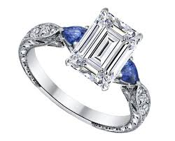 sapphire accent engagement rings engagement ring emerald cut engagement ring blue sapphire