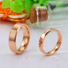 personalized ring gold plated tungsten wedding bands polished tungsten carbide